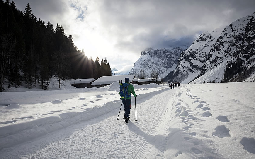 Winter walking near the Achensee in Austria