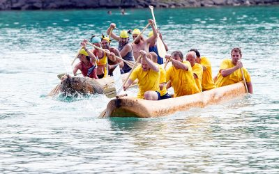 The dugout canoe race on the Attersee in Upper Austria