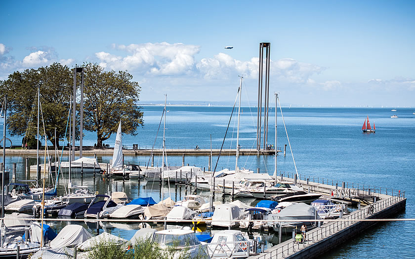 A yacht harbour on the Bodensee in Vorarlberg