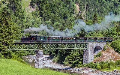 The Wälderbähnle steam train in the Bregenzerwald