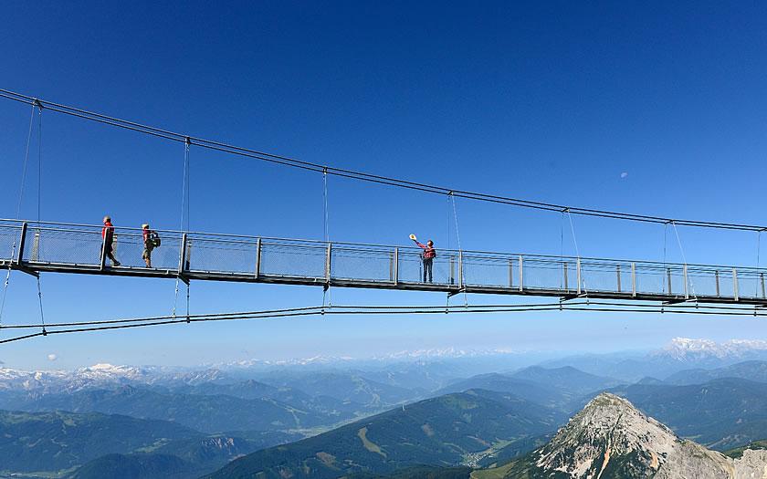 The hanging bridge on the Dachstein glacier in Styria