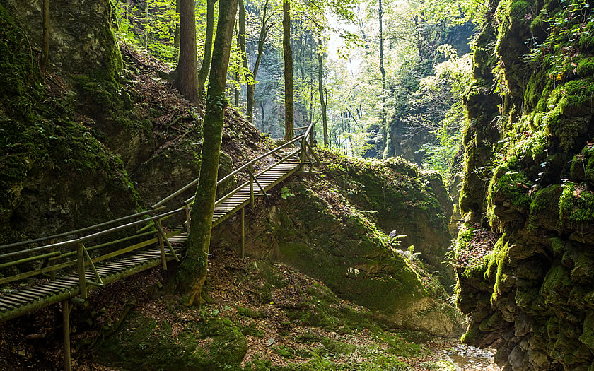 The Kesselfall gorge near Graz is a cooling hike on a hot summer day.