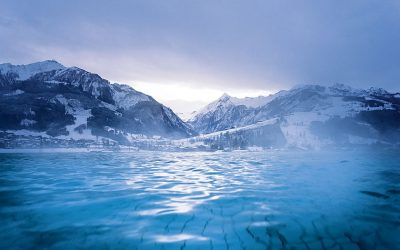Swimming with a glacier view