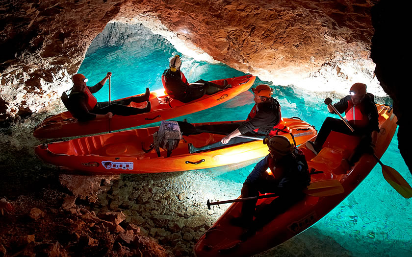Canoeing the waters of the Petzen mine tunnels.