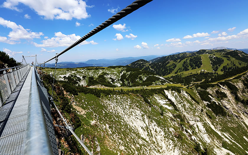 The Skytour hanging bridge on the Hochkar in Lower Austria