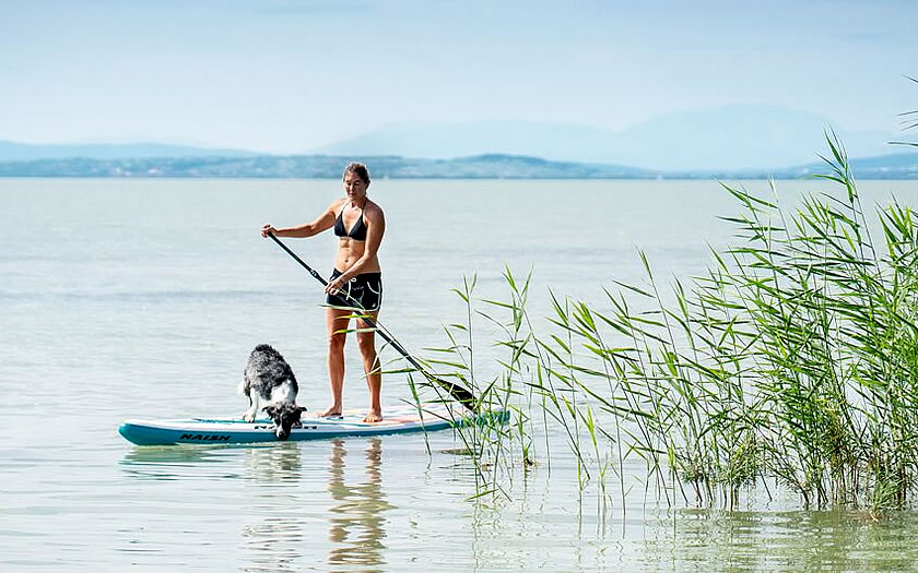 Stand up paddling on Lake Neusiedl in Burgenland