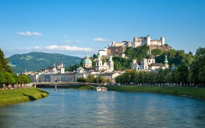 View of Salzburg old town above the Salzach river