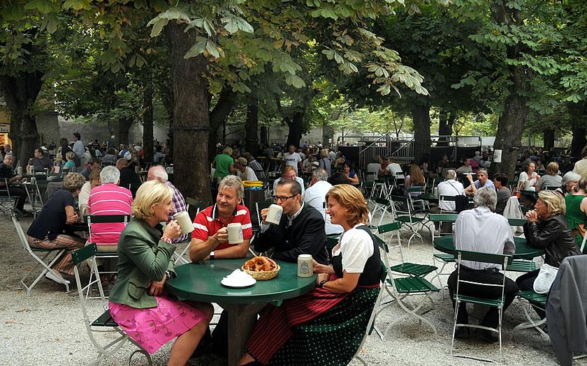 The beergarden at the Augustiner Bräu in Salzburg