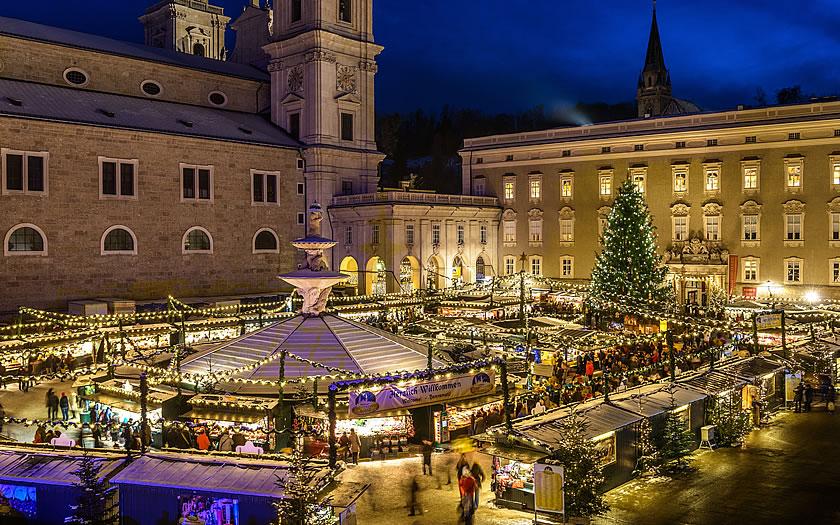 The Christkindlmarkt on Residenzplatz in Salzburg