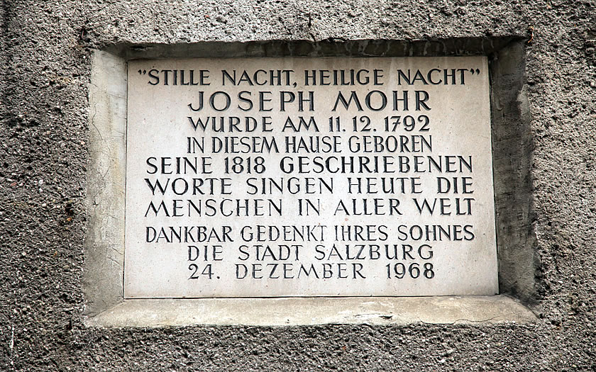 Memorial plaque for the composer of Silent Night in Salzburg