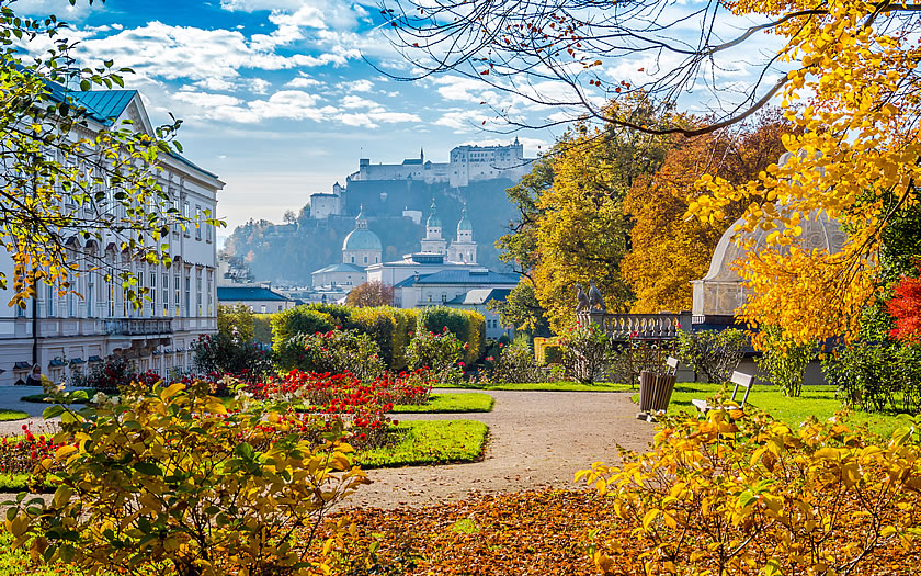 The Mirabell Gardens in Salzburg, a famous film location for 'TheSound of Music'