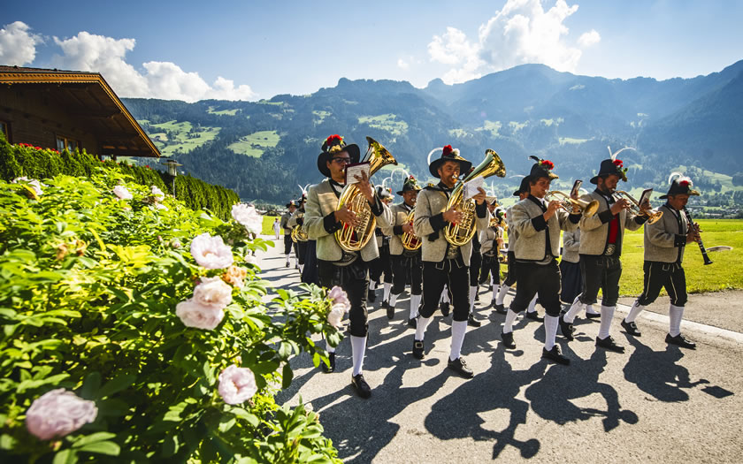 Brass band marching in the Ziller valley