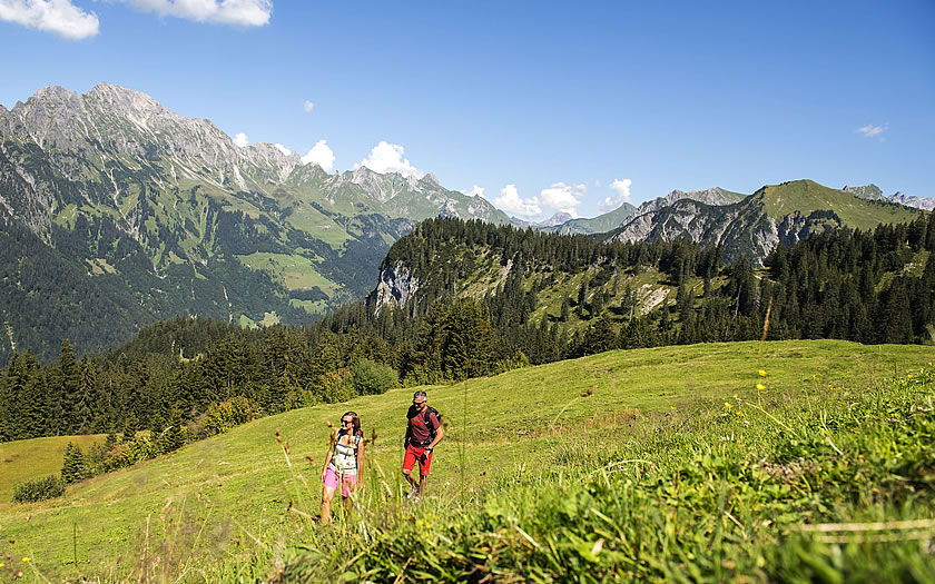 The short hike on the themed trail in the Großes Walsertal Biosphere Park